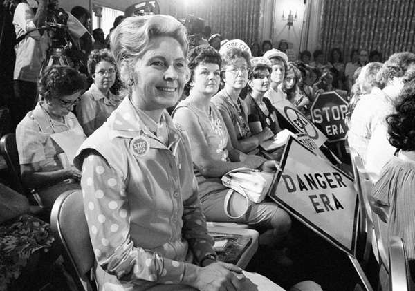 Phyllis Schlafly, left, national chairman of Stop ERA,