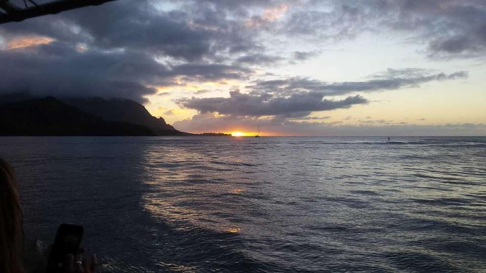 Sunset at Hanalei Bay, Kauai.