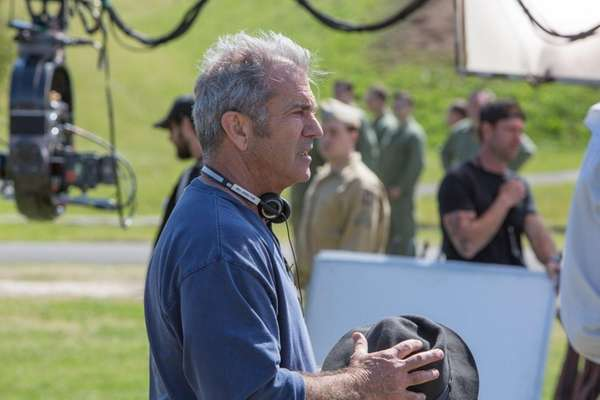 Director Mel Gibson on the set of