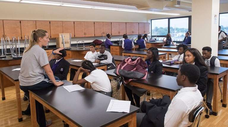 Ninth-graders at The Academy Charter School in Hempstead