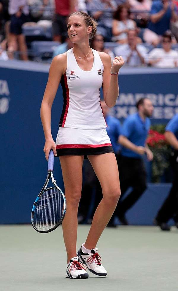 Karolina Pliskova reacts after her tiebreak win over