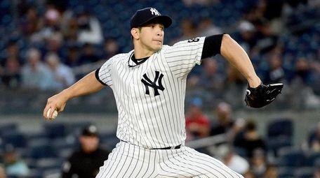 New York Yankees Pitcher Luis Cessa throws during