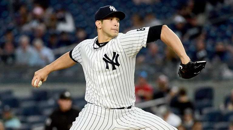 New York Yankees Pitcher Luis Cessa throws during