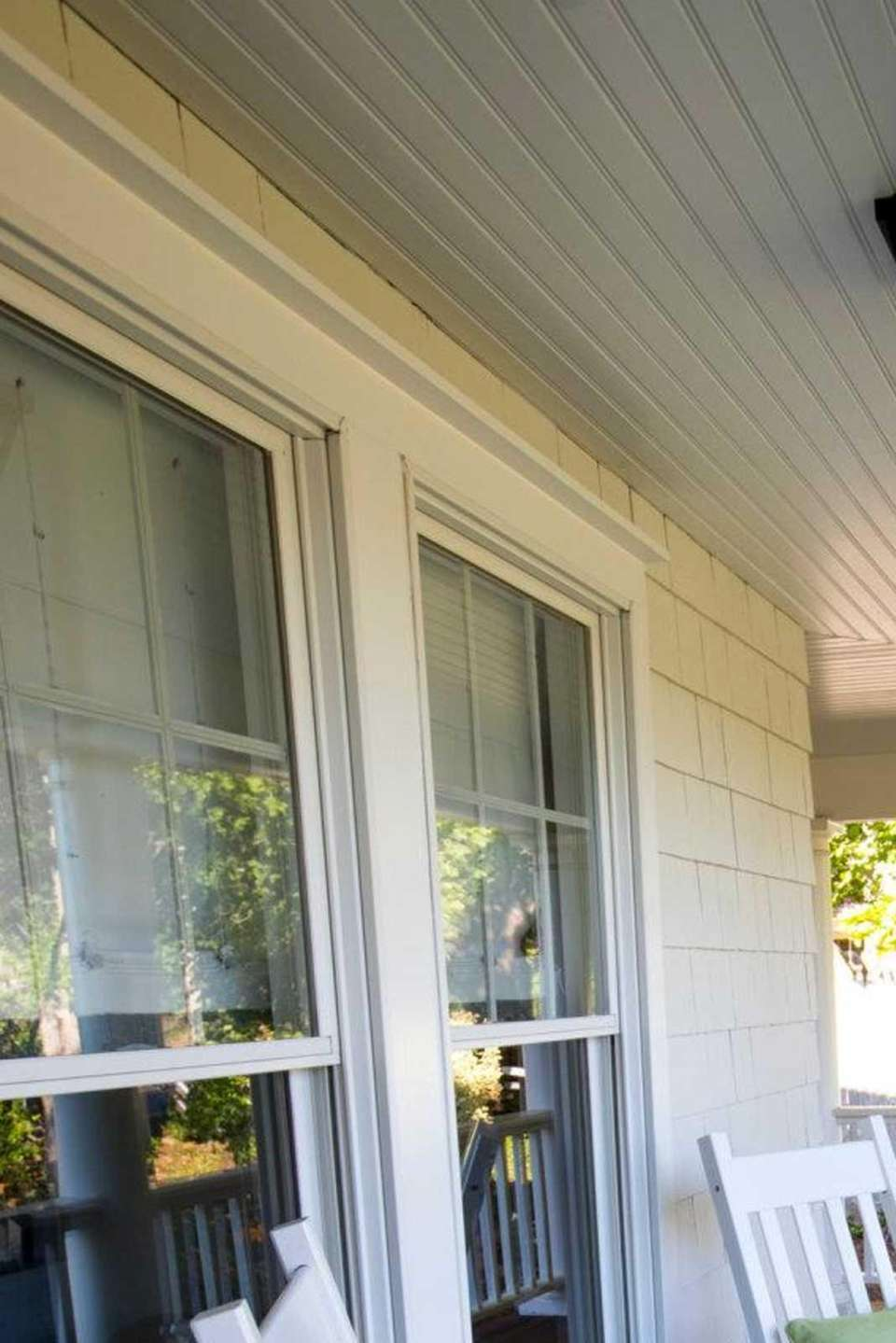 Rocking chairs on the wraparound porch at the