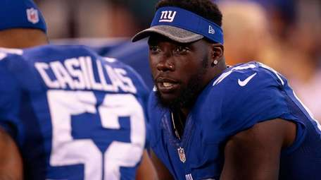 Jason Pierre-Paul on the sidelines during a preseason