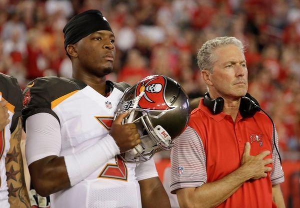 Tampa Bay Buccaneers quarterback Jameis Winston and head