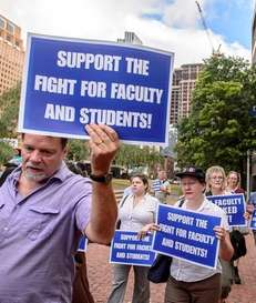 Long Island University faculty protest the school's lockout