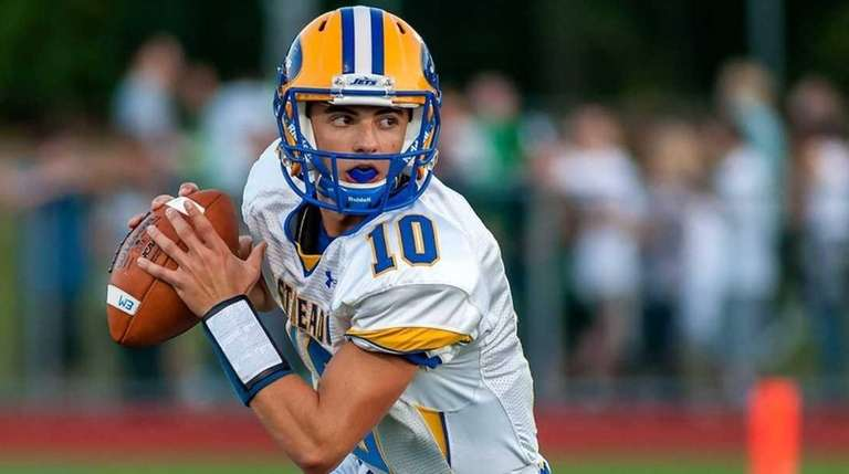 East Meadow's Anthony LaRosa looks to pass during