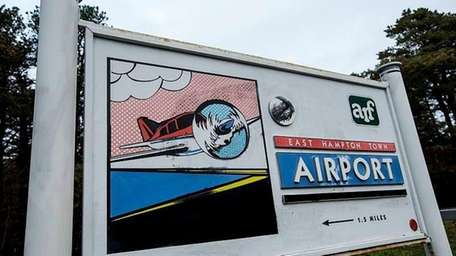 The East Hampton Airport signage in East Hampton,
