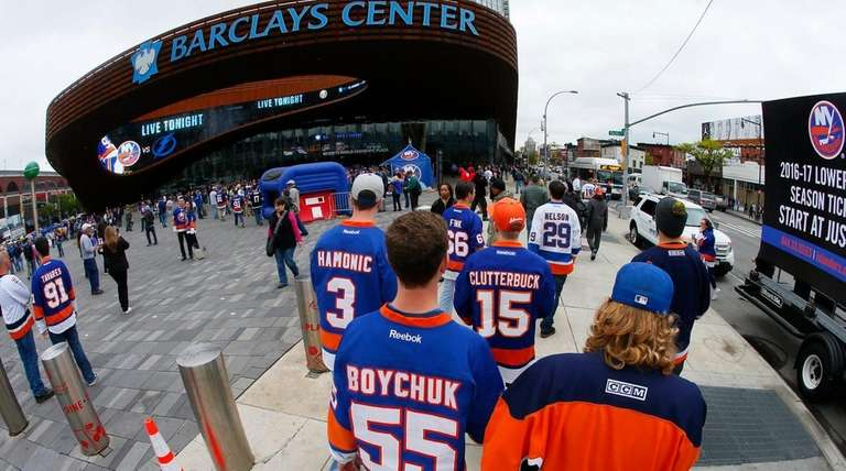 Fans arrive at Barclays Center on May 3,
