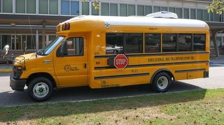 An all-electric bus at Copiague Middle School in