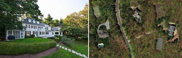 These luxury homes, in Lloyd Harbor, left, and