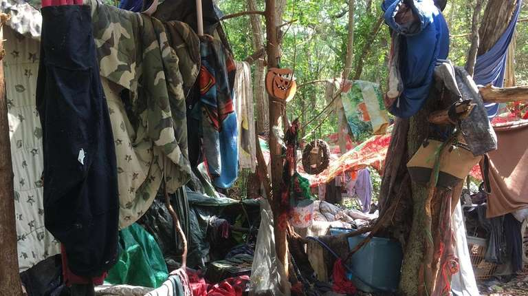 Brookhaven Town photos show a tent city in