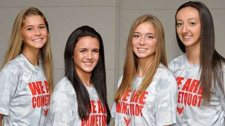 Connetquot teammates, from left, Mackenzie Cole, Nicole Migliozzi,