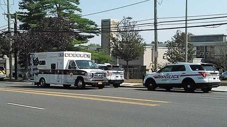 First responders at the scene where two pedestrians