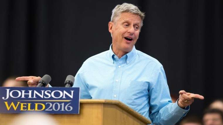 Libertarian presidential candidate Gary Johnson speaks during a