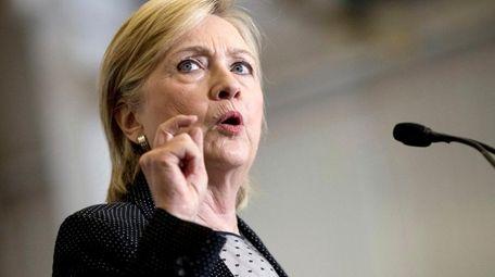 Democratic presidential candidate Hillary Clinton speaks in Warren,