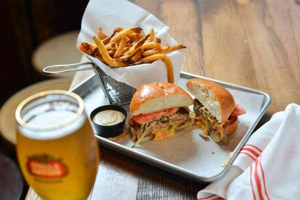 The Juicy Lucy burger, an American cheese-stuffed 8-ounce