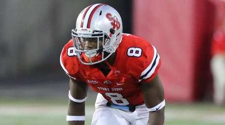Stony Brook defensive back Jaheem Woods waits for