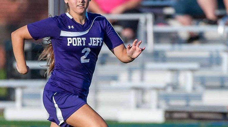 Port Jefferson's Brittany Fazin (2) dribbles the ball