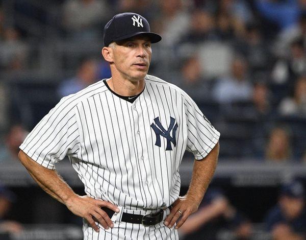New York Yankees manager Joe Girardi looks on