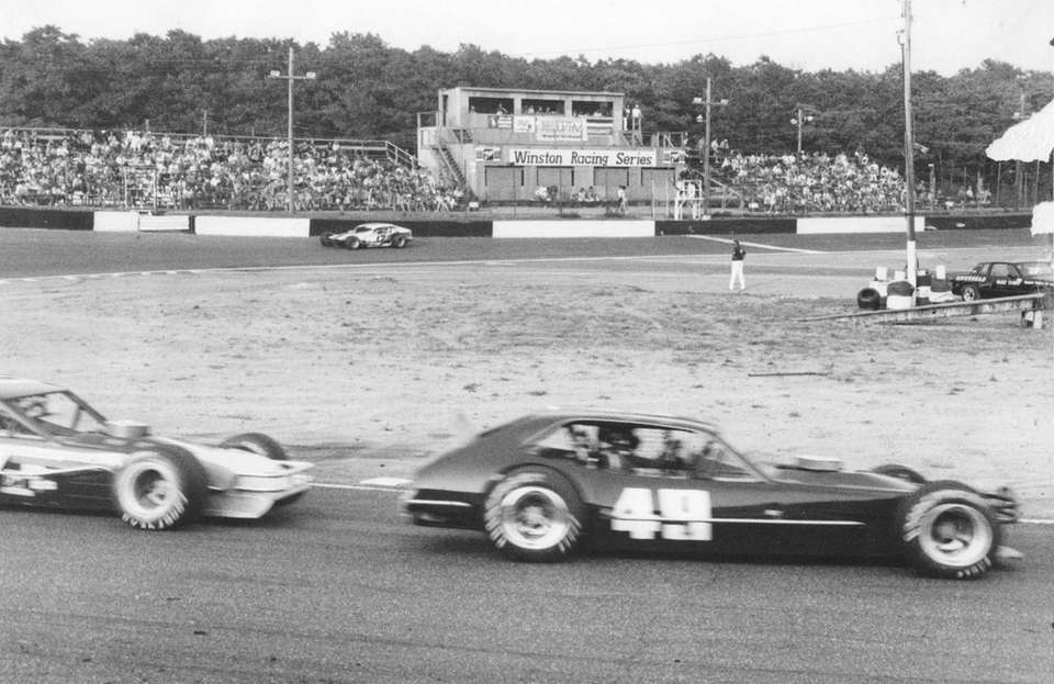 Drivers compete at Riverhead Raceway on July 13,
