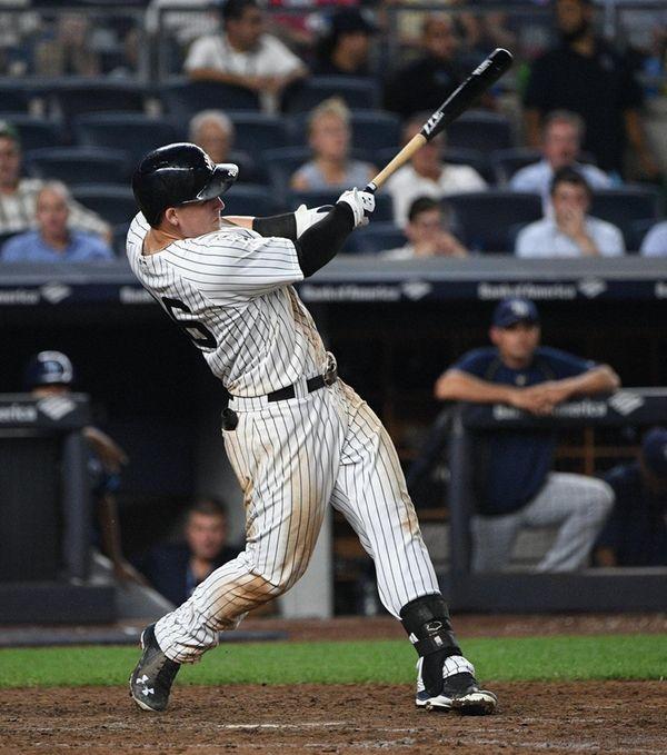 New York Yankees first baseman Tyler Austin hits