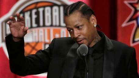 Basketball Hall of Fame inductee Allen Iverson speaks