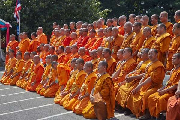 Monks sit for a photo at the Vajiradhammapadip