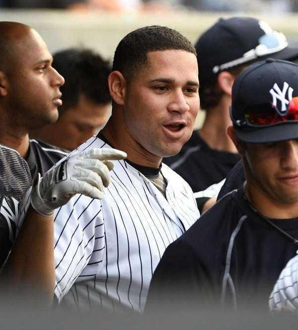 New York Yankees catcher Gary Sanchez looks on