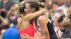 Angelique Kerber reacts after defeating Karolina Pliskova in