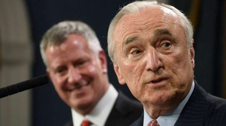 NYPD Commissioner William Bratton, right, with Mayor Bill