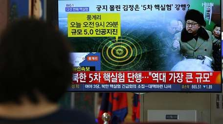 Korean television broadcasts an an image of North