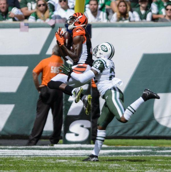 Cincinnati Bengals wide receiver A.J. Green pulls in