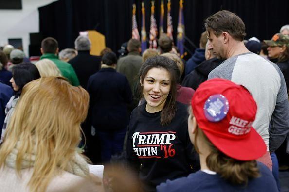 A woman wears a shirt reading 'Trump-Putin '16'