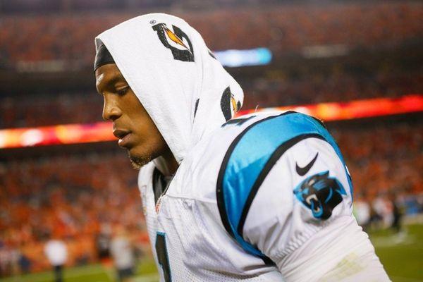 Cam Newton #1 of the Carolina Panthers walks