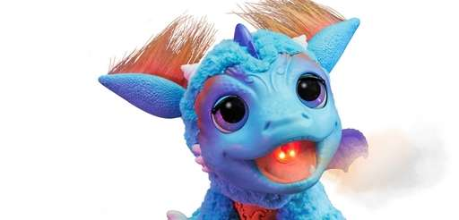 This plush baby dragon breathes flame-colored mist. Bring