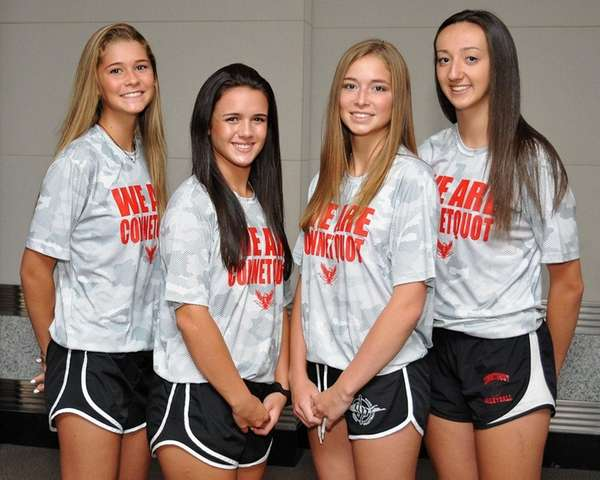 Connetquot volleyball teammates, from left, Mackenzie Cole, Nicole