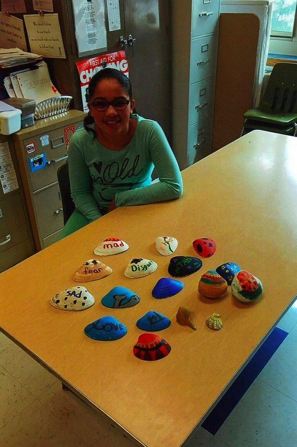 Kidsday reporter Tatiana Andino and her shell collection.