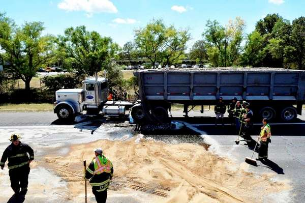 A fuel spill from a disabled tractor trailer