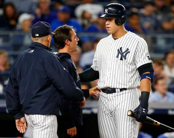Yankees rookie Aaron Judge is checked out during