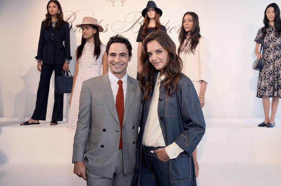 Designer Zac Posen and actress Katie Holmes at