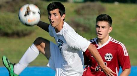 Rocky Point's Matt Farruggio (15) controls a high