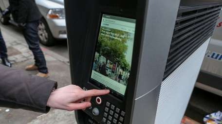 A LinkNYC kiosk, located at 3rd Ave. and