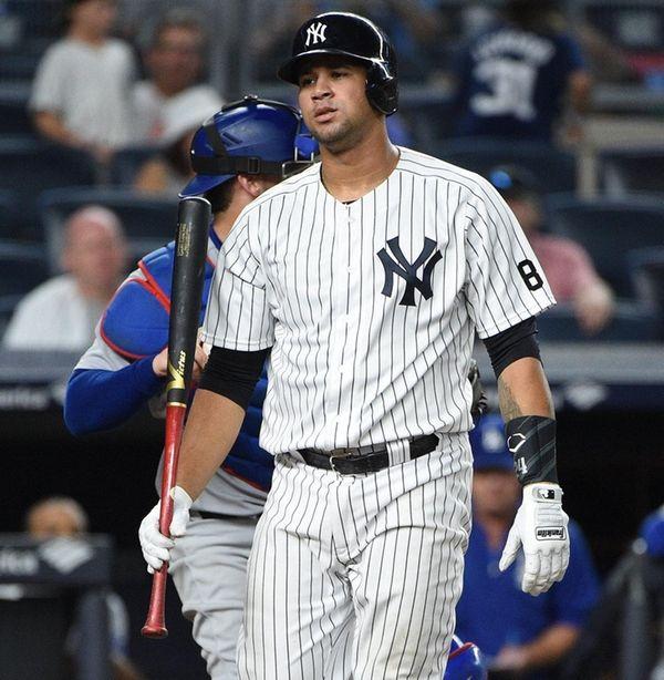 New York Yankees catcher Gary Sanchez reacts after