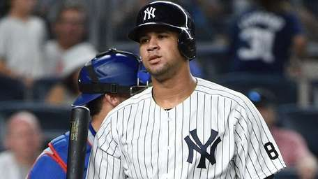 New York Yankees catcher Gary Sanchez reacts after