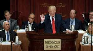 Republican presidential candidate Donald Trump delivers remarks at