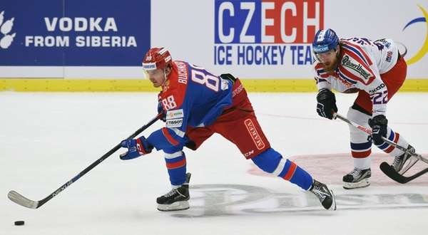 Pavel Buchnevich, left, of Russia and Lukas Kaspar