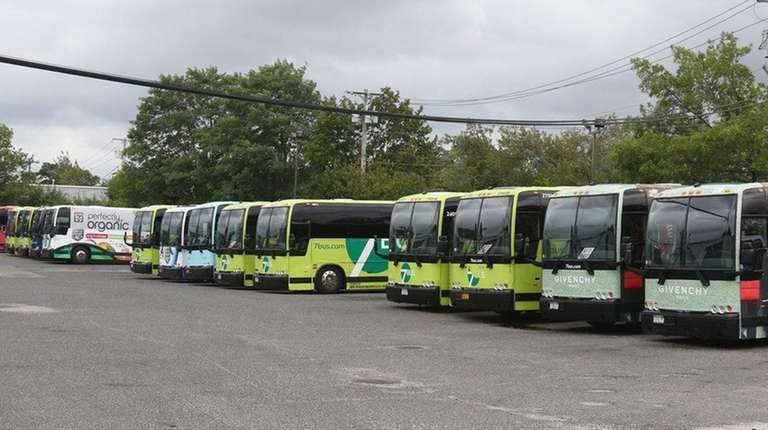 Buses parked at the offices of Classic/Luxury and