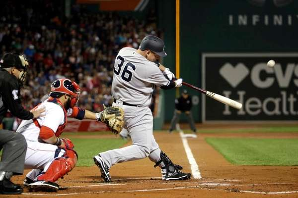 New York Yankees' Billy Butler hits an RBI